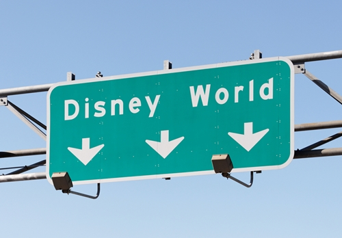 Interstate exit sign for Disney World