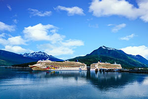 two cruise ships in Alaskan inlet