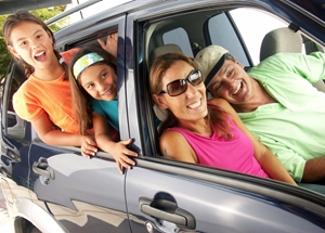 Family in car hanging out