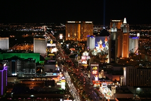 The lights of the Las Vegas Strip at night
