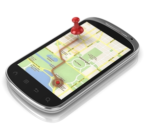 Smartphone displaying Google Map route