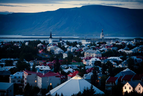 City in Iceland homes and buildings and coastline