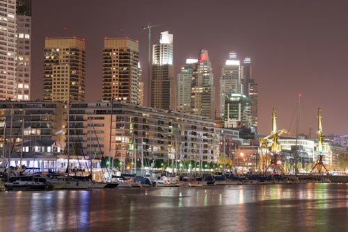 Skyline of Buenos Aires Argentina at night taken from river